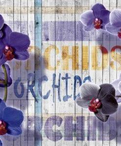 Fototapet med motivet: Orkidéer Blommor träplankor
