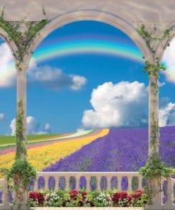 Fototapet med motivet: Blommor genom valv