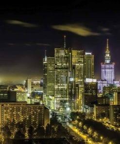 Fototapet med motivet: Stad Warszawa Kväll