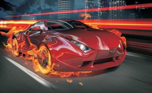 Fototapet med motivet: Röd bil