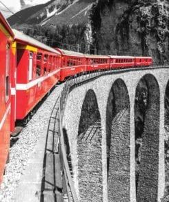 Fototapet med motivet: Tåg i fjällen