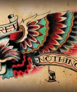 Fototapet med motivet: Skalle Tatuering Vinge