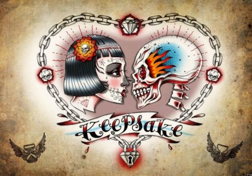 Fototapet med motivet: Skalle Hjärta Tatuering
