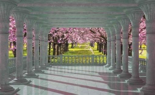 Fototapet med motivet: Körsbär Träd genom valv