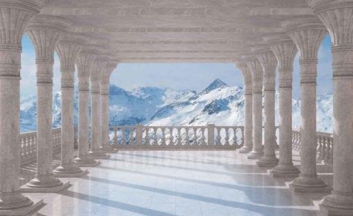 Fototapet med motivet: Berg Scen genom valv