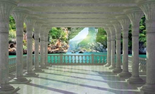 Fototapet med motivet: Tropisk lagun genom valv