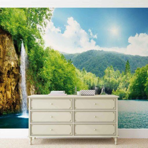 Fototapet med motivet: vattenfall Sjö