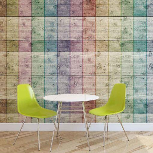 Fototapet med motivet: Färgade träplankor