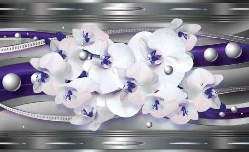 Fototapet med motivet: Ribbon Blommor Abstrakt