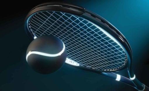 Fototapet med motivet: Tennisracket Ball Neon