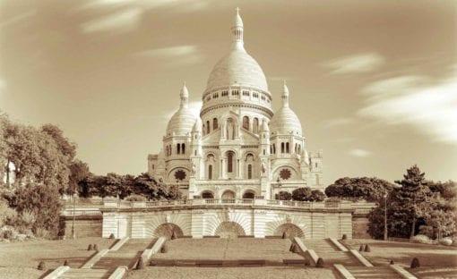 Fototapet med motivet: Stad Basilica Sacred Hjärta Paris Sepia