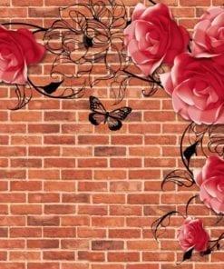 Fototapet med motivet: Rosor Blommor Abstrakt Tegelsten Vägg