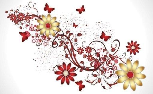 Fototapet med motivet: Blommor fjärilar Mönster Röd