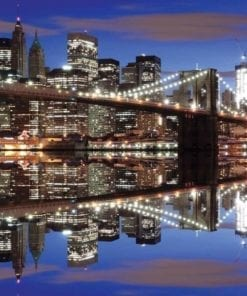 Fototapet med motivet: New York Brooklyn Bridge Kväll