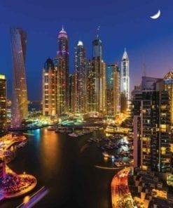 Fototapet med motivet: Dubai skyskrapa Kväll
