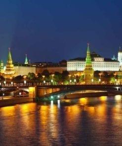 Fototapet med motivet: Stad Moscow River Bridge Skyline Kväll