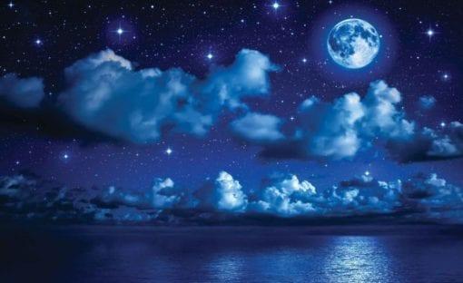 Fototapet med motivet: Himmel månen moln Stjärnor Natt Hav