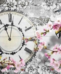 Fototapet med motivet: Fåglar Blommor Klocka Vintage