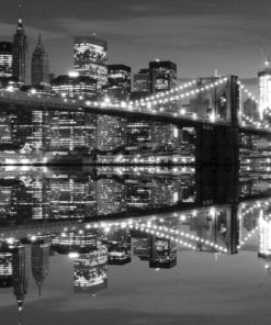 Fototapet med motivet: New York City horisont Brooklyn Bridge