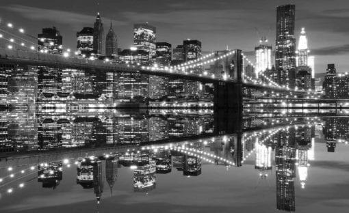 Fototapet med motivet: New York City horisont Brooklyn Bridge