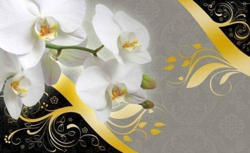 Fototapet med motivet: Mönster Blommor Orkidéer Abstrakt