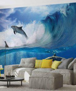 Fototapet med motivet: Delfiner Hav Våg Natur