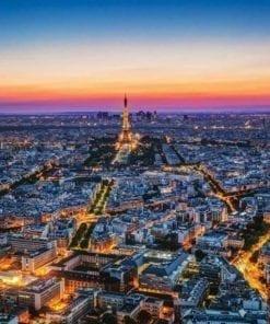 Fototapet med motivet: Staden Paris Solnedgång Eiffeltornet