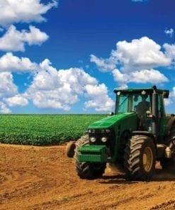 Fototapet med motivet: Fält Himmel Traktor Natur