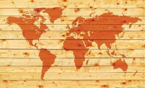Fototapet med motivet: World Karta trä plankor