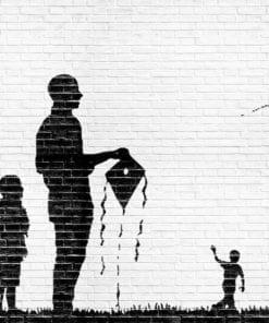 Fototapet med motivet: Tegelvägg drakar Barn Svart Vit