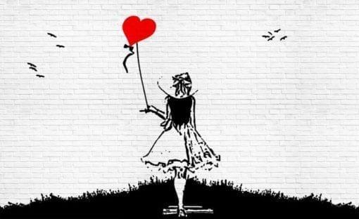 Fototapet med motivet: Tegelsten Vägg Hjärta Balong Tjej Graffiti