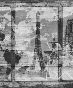Fototapet med motivet: Paris Stadskarta Vintage