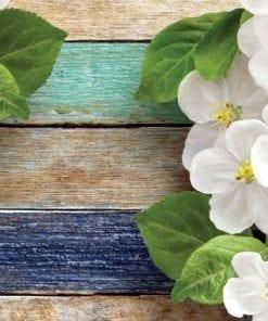 Fototapet med motivet: Trä staket Blommor