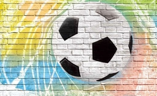 Fototapet med motivet: Football Vägg Tegelsten