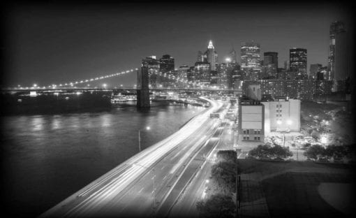Fototapet med motivet: New York City Brooklyn Bridge Ljus