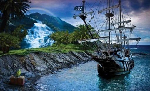 Fototapet med motivet: Pirat Segling Skepp