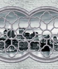 Fototapet med motivet: Tegelvägg Stad horisont