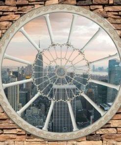 Fototapet med motivet: Stenvägg staden New York Skyline