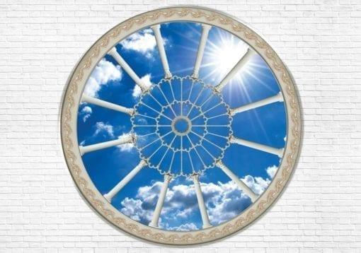 Fototapet med motivet: Tegelsten Vägg Himmel moln Sol Natur