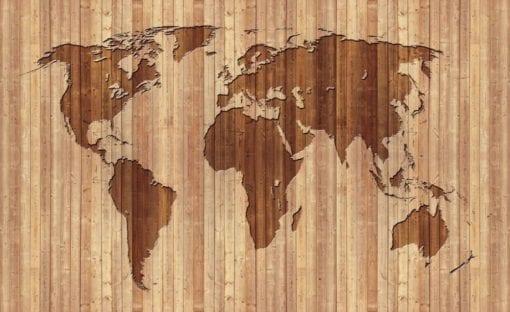 Fototapet med motivet: World Karta Trä