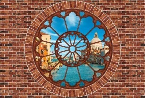 Fototapet med motivet: Tegelvägg Venedig Kanal