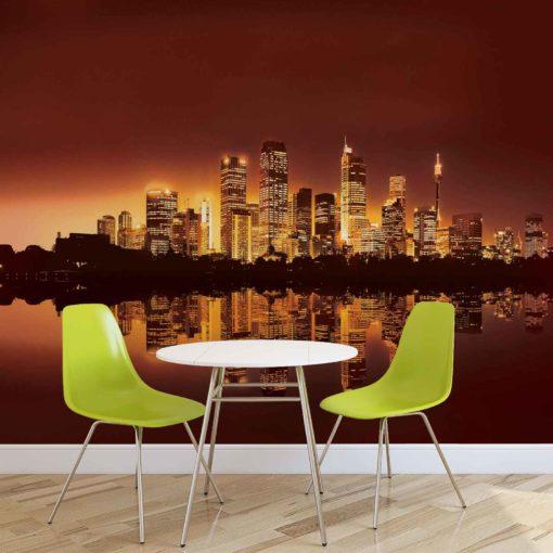Fototapet med motivet: Staden New York Skyline Solnedgång