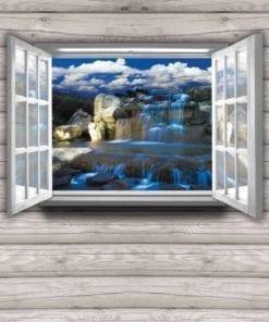 Fototapet med motivet: Utsikt Stuga Vattenfall Natur