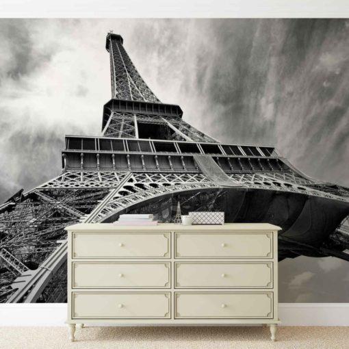 Fototapet med motivet: Eiffeltornet Svart Vit