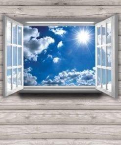 Fototapet med motivet: Utsikt Stuga Himmel moln Sol Natur