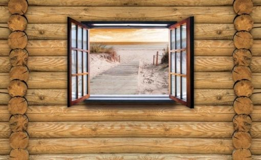 Fototapet med motivet: Utsikt Stuga Strandpromenad Sand Hav