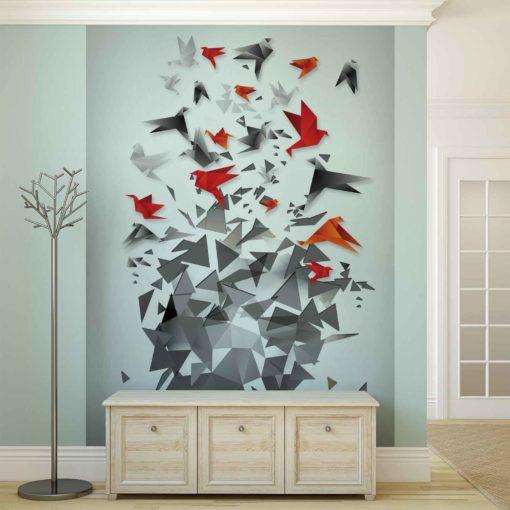 Fototapet med motivet: Fria Origami Fåglar