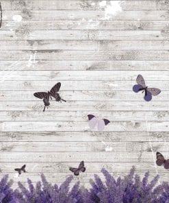 Fototapet med motivet: Fjärilar Lavender Blommor Vintage