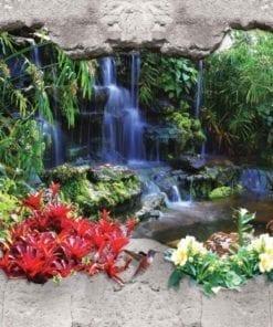 Fototapet med motivet: Vattenfall Skog Blommor
