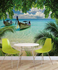 Fototapet med motivet: Tropisk Strand Paradis Båt